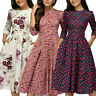 Autumn Spring Vintage Women Retro Tunic Long Sleeved Print Floral A-Line Dress