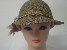 LADIES SUMMER HAT LOOKS LIKE STRAW WITH RHINESTONE AND RIBBON