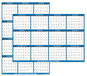24x36 SwiftGlimpse 2022 Large Wall Calendar, Paper Folded, Yearly Planner - NAVY