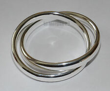 Sterling Silver 925 Interlinked Thick Bangle Bracelet.
