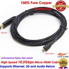 6FT HDMI to Micro HDMI Cable w/Protective Nylon Net Mesh,100% Pure Copper
