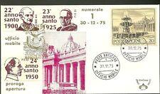 UFFICIO MOBILE n 1 PAOLO VI ANNO SANTO 1975 ANNI SANTI VARI ANNULLO 30 -12 -1975