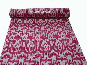 Twin Size Ikat Print Indian Cotton Ethnic Bedding Kantha Quilt Vintage Bedspread