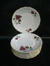 RKT7 ROYAL KENT Rose China Bread Plates Poland Gold Trim EIGHT (AD)