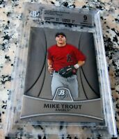 MIKE TROUT 2010 Bowman Platinum Rookie Card RC BGS 9 9.5 Angels ROY AS MVP HOT $