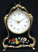 Blessing Black Alarm Musical Clock w/ Floral Decoration - Vintage - Parts/Repair