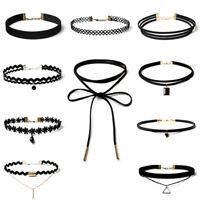 10PCS Black Choker Necklace Set Stretch Velvet Classic Gothic Tattoo Lace Retro