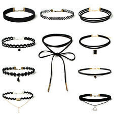 10PCS Black Choker Necklace Set Stretch Velvet Classic Gothic Tattoo Lace Retro