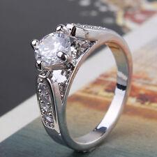 Gorgeous Lady 18k white gold filled Fashion lady white topaz Ring Sz5-Sz9