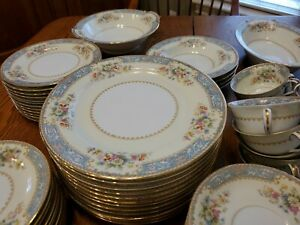 Antique 83 Piece Cerulean 4726 Noritake China - Exceptional (12 Place Settings)