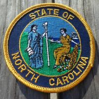"3"" Round State of North Carolina State Emblem Embroidered Blue Gold Patch"
