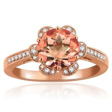 14k Rose Gold 1.78ctw Morganite & Diamond Flower Solitaire Ring