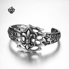 Silver bikies bracelet stainless steel men Fleur-De-Lis cuff bangle soft gothic