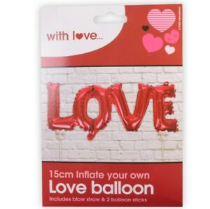 15cm RED 'LOVE' BALLOON Inflatable Decoration Special Occasion Birthday Ribbon