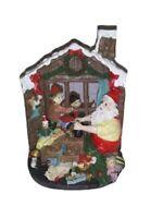 Santa and Elves Workshop Scene Polyresin Figurine -Christmas Collectible Vintage