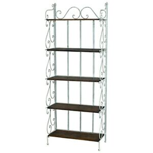 Tall White 5 Tier Brown Shelves Storage Display Shelves Bakers Rack Shelf Unit