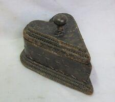 Antique Wooden Carved Heart Box Tramp Art Folk Art