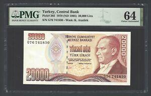 Turkey 20000 Lira 1970(ND 1995) P202 Uncirculated Grade 64