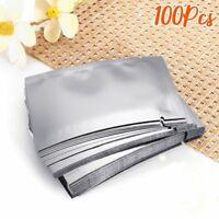 100pcs Silver Vacuum Sealer Aluminum Foil Mylar Bags Zip Lock Storage Pouches