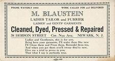 Blotter, M. Blaustein, Ladies Tailor & Furrier, 38 Hobson Street, Newark NJ
