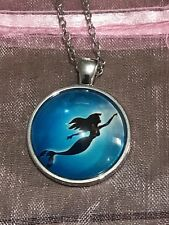 The Little Mermaid Ariel Glass Dome Pendant Necklace Silver Plated. Hand Made.