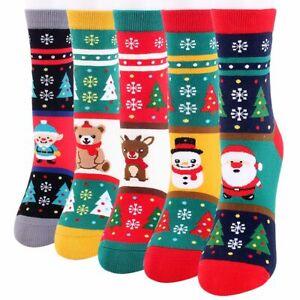 Women Elf Deer Bear Print Christmas Stockings Christmas Socks Winter Xmas Socks
