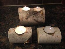 Handmade Birch Wood Candle Holders for Tea Light Candles~Rustic~Mantle~Cabin