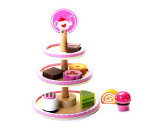 Cute Wooden Afternoon Play Food Dessert Stand Toy for Girls & Boys Preschool Age