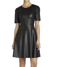 New BCBG Max Azria Womens Black Darra Faux Leather A Line Party cocktail Dress 2