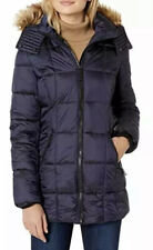 Marc New York Riverdale Faux Fur Trim Hooded Puffer Coat in Navy 13968 Size L