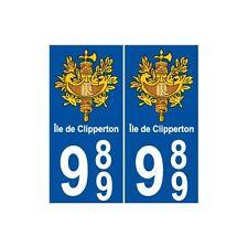989 Clipperton île sticker autocollant plaque arrondis