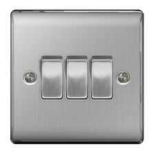 BG Nexus Metal Brushed Steel Triple Switch 3 Gang 2 Way Brushed Satin - NBS43