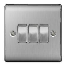 BG Nexus Metal Brushed Steel Triple Switch 3 Gang 2 Way Brushed Satin - NBS43