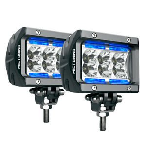 """Pair 4"""" 18W LED Light Bar Pods Off Road Truck ATV SPOT Work Lamp IceBlue Marker"""