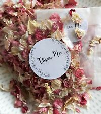 BIODEGRADABLE CONFETTI DELPHINIUM Pink Ivory Petals Dried 40 Bags