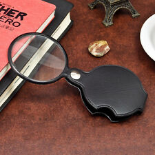 5X Magnification Folding Magnifying Glass Lens Magnifier Leather Pouch Eye Loupe