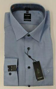 """OLYMP Luxor Modern Fit Men's Dress Shirt Blue Small Checkered 46/18""""/69cm XXL"""