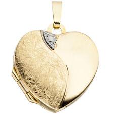 JOBO Medaillon Herz 333 Gold Gelbgold eismatt Anhänger zum Öffnen