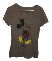 Disneyland Resort Parks Gray V-Neck Mickey Mouse T-Shirt Womens Size Medium