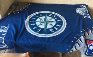Seattle Mariners Throw Lap Blanket MLB Insiders Club Baseball Fleece Genuine
