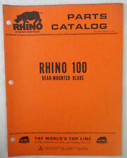 Rhino 100 Rear Mounted Blade Parts Catalog Manual Book Original Servis