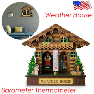 Weather House Wooden Barometer Thermometer Weather Hygrometer Home Decor Creativ
