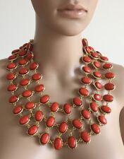 Amrita Singh Gold Tone Reversible Pink-Orange/Coral Cabochons Bib Necklace