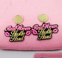 Fashion Women Acrylic Resin Letter Earring Boho Dangle Drop Stud Earring