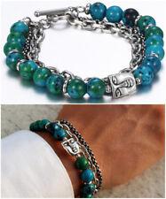Bracciale uomo acciaio in catena pietre dure blu da braccialetto con pietra