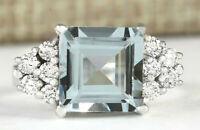 3.40 Carat Natural Aquamarine 14K White Gold Diamond Ring
