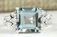 3.40 Carat Natural Aquamarine 14K White Gold Diamond Ring