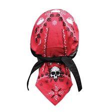 Red Black Spider Web Skull Paisley Doo Rag Headwrap Cap Sweatband Capsmith Biker