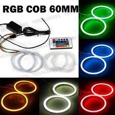 2pcs RGB COB LED Angel Eyes Light Auto Drive Halo Ring Remote Control Kit 60MM