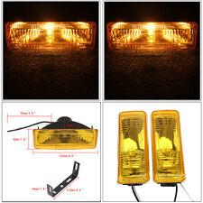 Pair Universal 12V Car Halogen Headlight L&R Foglight Driving 55W Yellow Cover